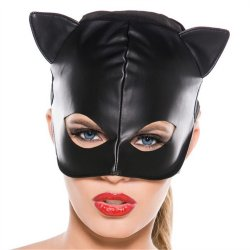 Faux Leather Cat Mask - Black Sex Toy