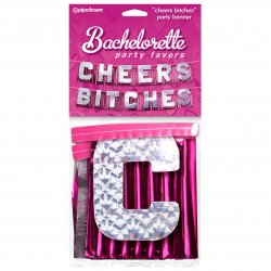 "Bachelorette Party Favors ""Cheers Bitches"" Party Banner Sex Toy"