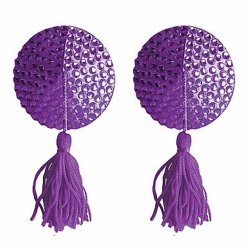 Ouch! Nipple Tassels - Round - Purple Sex Toy