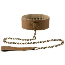 Shots Ouch! Bonded Leather Collar With Leash - Brown Sex Toy