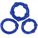 Stay Hard: Beaded Cock Rings - Blue - 3 Pack Sex Toy