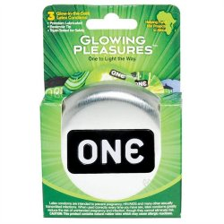 One: Glowing Pleasures Condoms - Box of 3 Sex Toy