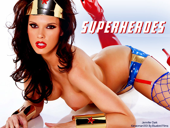 Jennifer Dark stars in Katwoman XXX superhero porn movie.