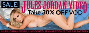 Save 30% on Jules Jordan Video porn VODs starring Nikki Benz and more.