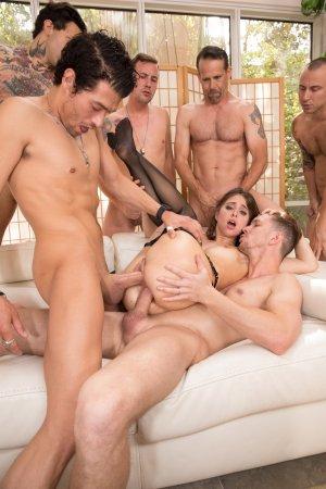 Riley Reid stars in The Gangbang Of Riley Reid porn movie.