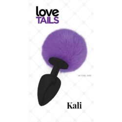 Love Tails: Kali Black Plug with Purple Pom Pom - Medium Sex Toy