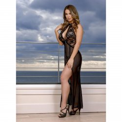 Exposed - Black Widow - Keyhole Cutout Gown & G-String Set - S/M Sex Toy