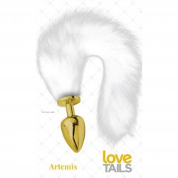 Love Tails: Artemis Gold Plug with Long White Tail - Large Sex Toy