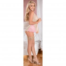 Exposed - Deep Plunge Belted Baby Doll Set - Pink - Queen Sex Toy