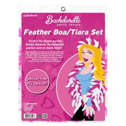 Bachelorette Party Favors Pink and White Feather Tiara and Boa Set Sex Toy