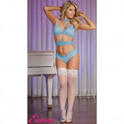 Exposed - Sky Collection - Bra, Panty & Choker-To-Waist Set - L/XL Sex Toy