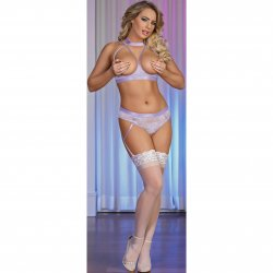 Exposed - Lavender Lace - Cupless Bra & Crotchless Panty Set - L/XL Sex Toy