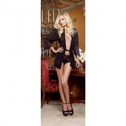 Chiffon & Stretch Lace Short Length Kimono Robe & Cheeky Panty - Black - Large Sex Toy