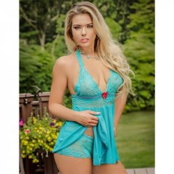 Exposed - Teal Bliss - Baby Doll & Short Set - S/M Sex Toy
