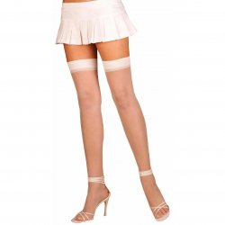 Elegant Moments: Sheer Thigh High - White - Queen Size Sex Toy