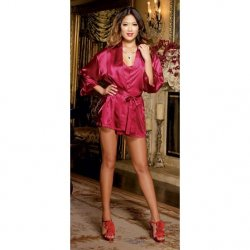 Charmeuse Short Length Kimono with Matching Chemise - Red - Medium Sex Toy