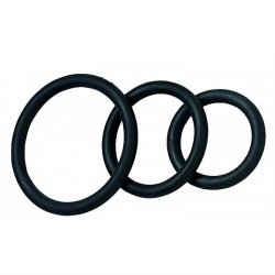 Nitrile Cock Ring Set - 3-Pack - Black Sex Toy