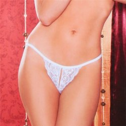 Tina Crotchless Thong - White Sex Toy