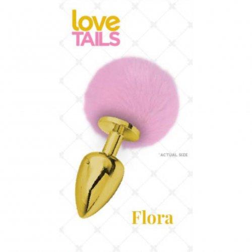 Love Tails: Flora Gold Plug with Pink Pom Pom - Medium sex toy.